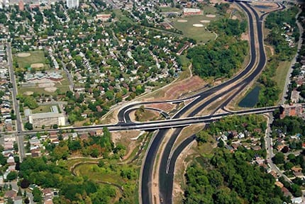 Aerial view of overpass