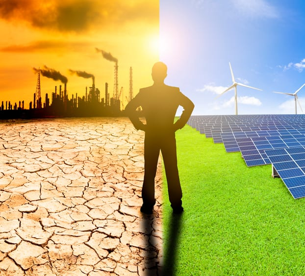 pollution and clean energy concept